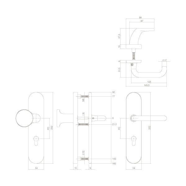 Veiligheidsbeslag SKG3 profielcilindergat 72 mm ovaal messing getrommeld