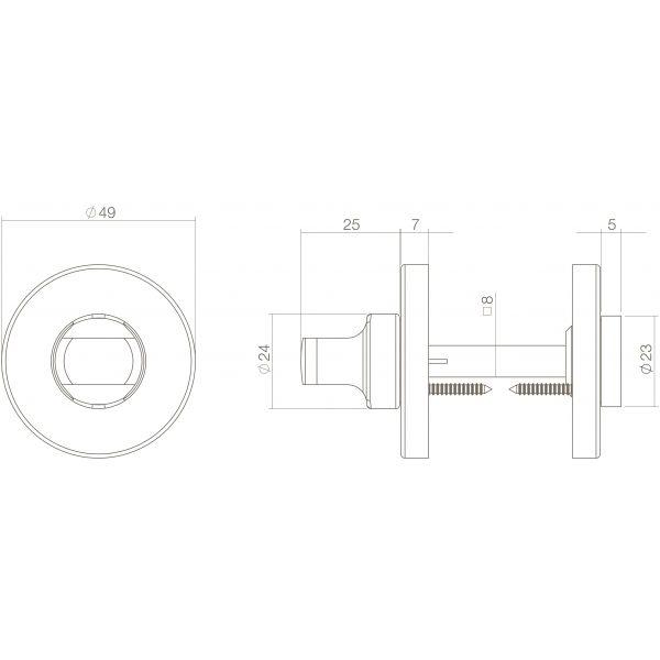 Rozet toilet-/badkamersluiting 8 mm rond verdekt kunststof messing gelakt