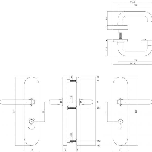 Veiligheidsbeslag kerntrekbeveiliging profielcilindergat ovaal messing 72 mm