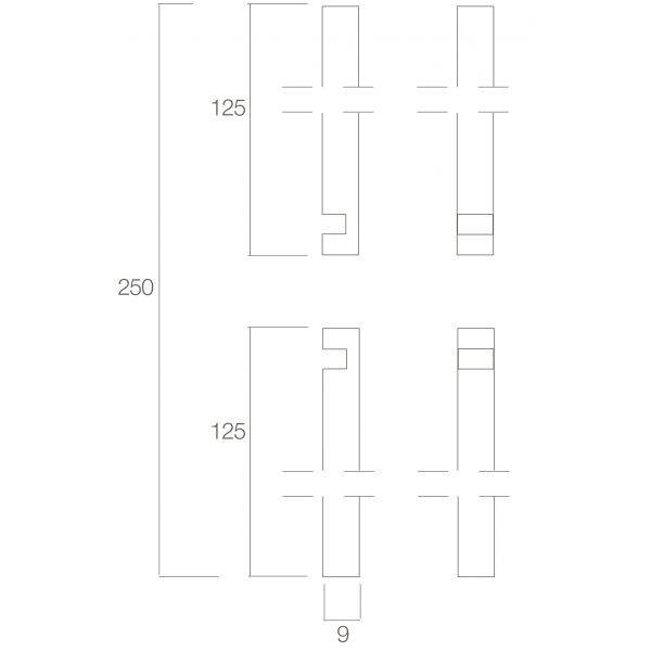 Stangenset deurespagnolet 2 x 125 cm messing gelakt