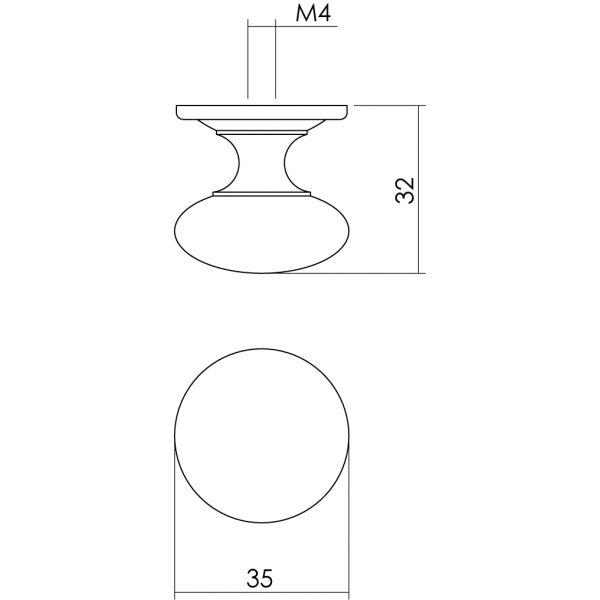 Meubelknop Paddenstoel ø 35 mm achterplaat messing gelakt