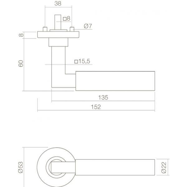 Deurkruk Bau-Stil op rozet chroom/mat zwart