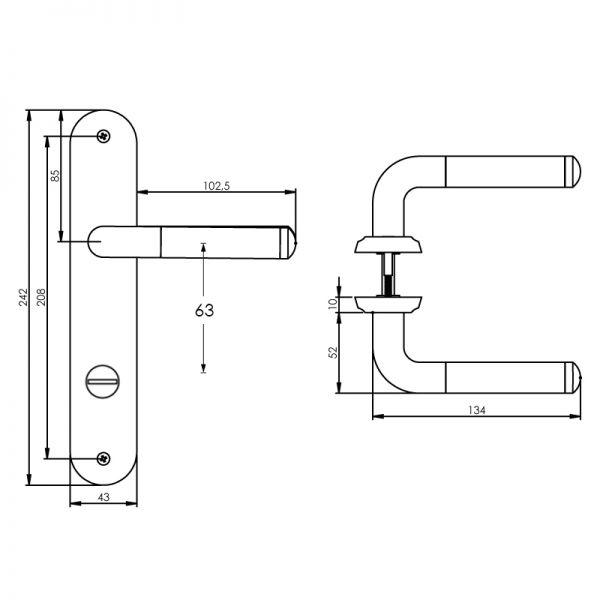 Deurkruk Agatha op schild toilet-/badkamersluiting 63 mm chroom