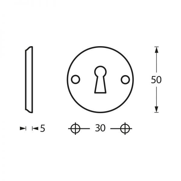 Rozet sleutelgat schroefgat chroom