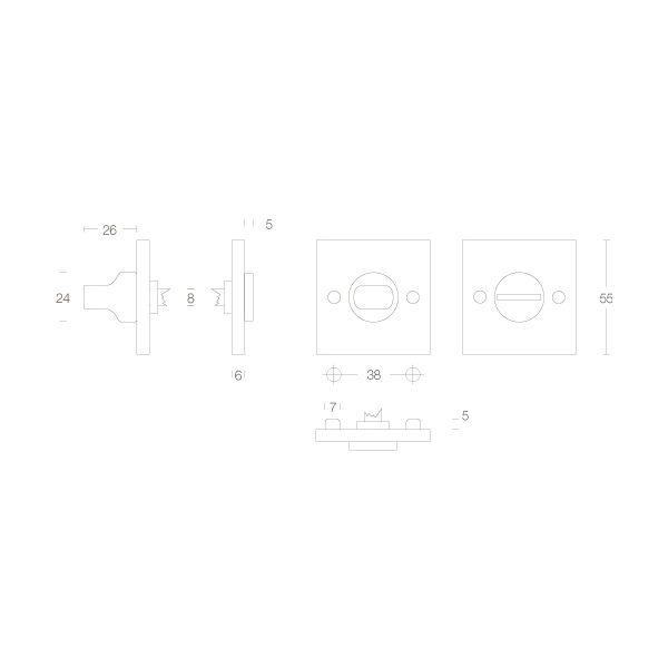Rozet vierkant met toilet-/badkamersluiting chroom