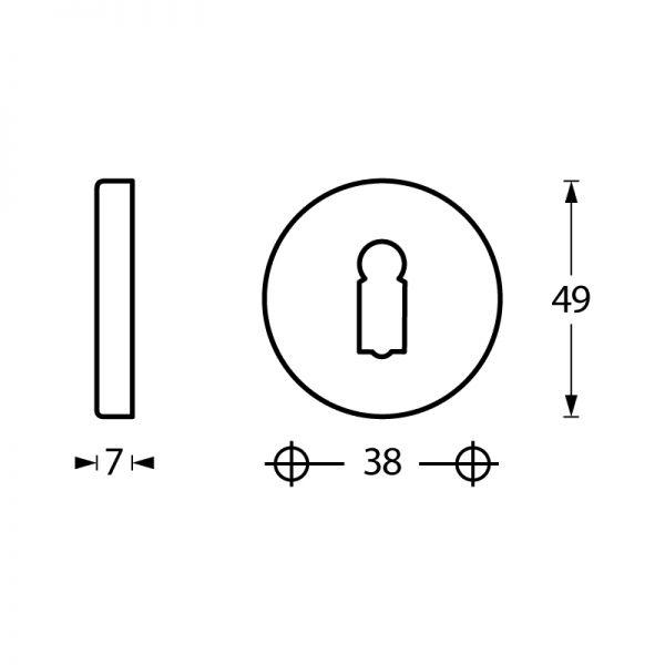 Rozet sleutelgat rond verdekt chroom