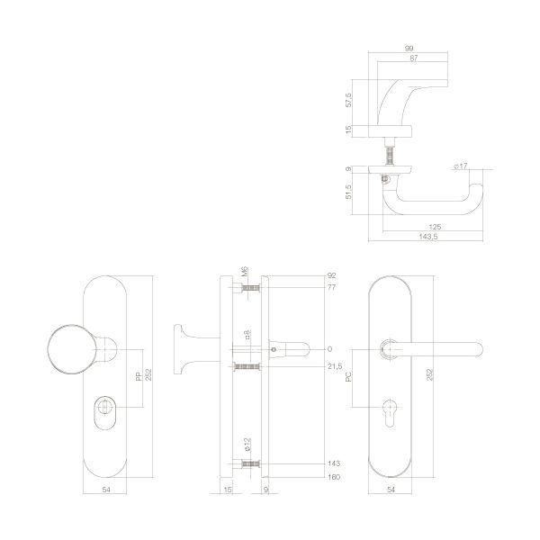 Veiligheidsbeslag SKG3 profielcilindergat 72 mm ovaal met kerntrekbeveiliging chroom