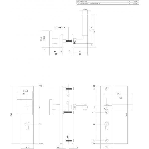 Veiligheidsbeslag SKG3 profielcilindergat 72 mm rechthoekig chroom