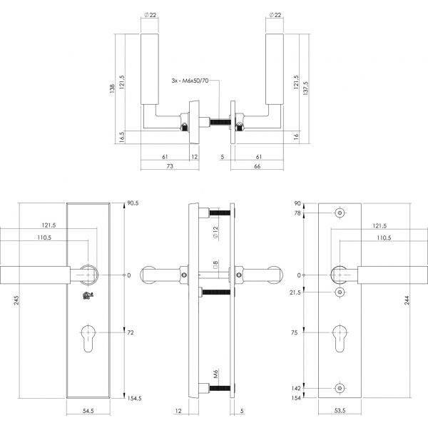 Veiligheidsbeslag profielcilindergat rechthoekig chroom 72 mm