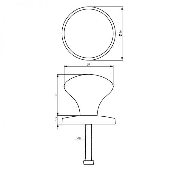 Voordeurknop Paddenstoel 57 mm chroom