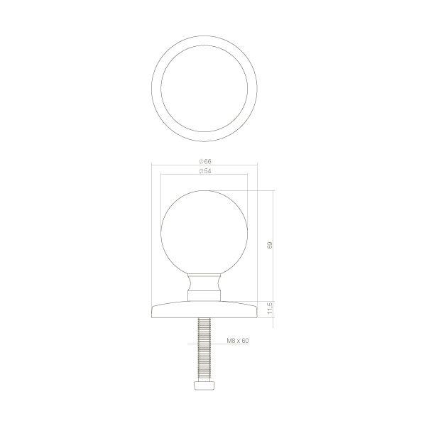 Voordeurknop bolrond 50 mm chroom