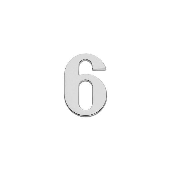Huisnummer 6 chroom