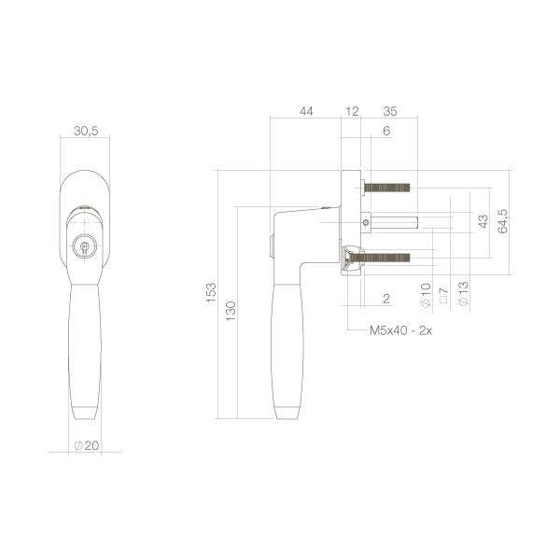 Raamkruk Ton 400 afsluitbaar op ovaal rozet chroom/ebben hout