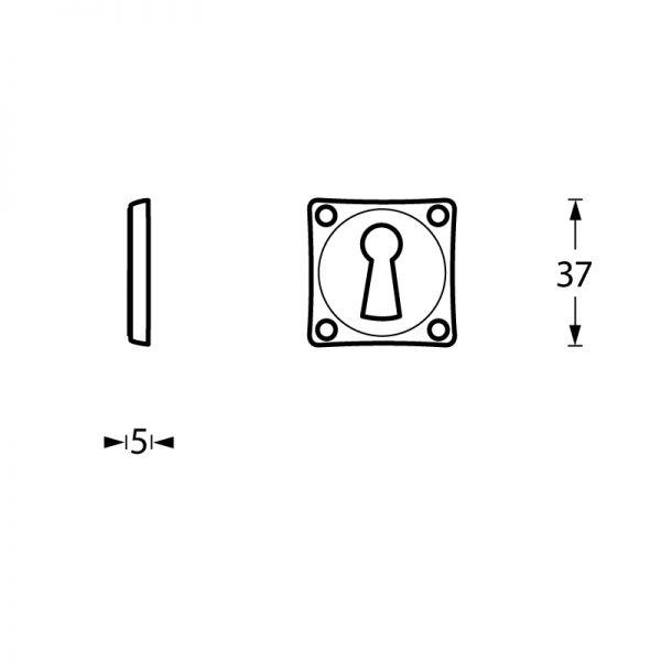 Rozet sleutelgat schroefgat vierkant chroom mat