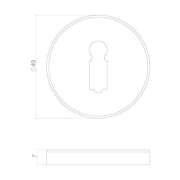 Rozet sleutelgat chroom mat
