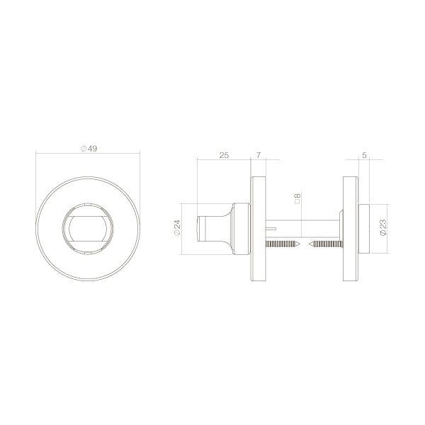 Rozet toilet-/badkamersluiting chroom mat