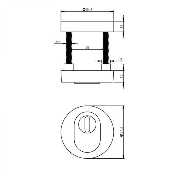 Veiligheidsrozet SKG3 rond kerntrekbeveiliging chroom mat