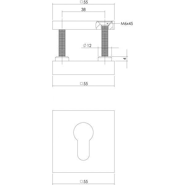Veiligheidsrozet SKG3 vierkant chroom mat