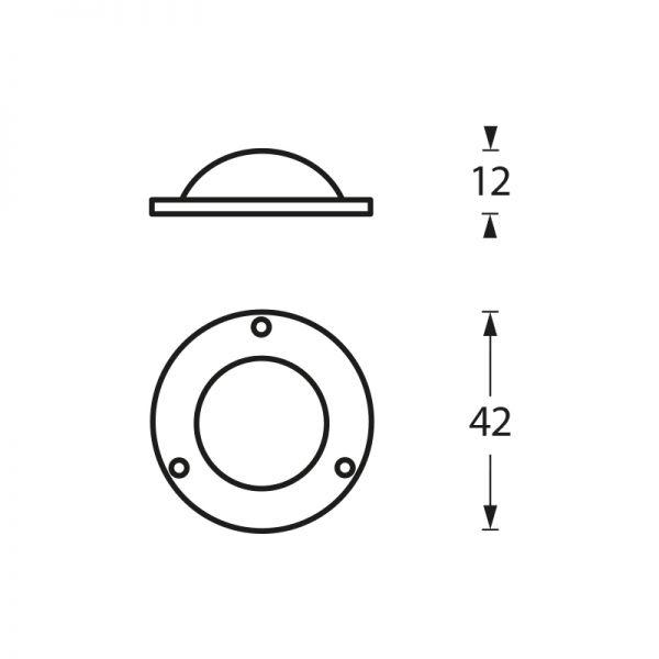 Afdekplaatje tbv voordeurknop chroom mat