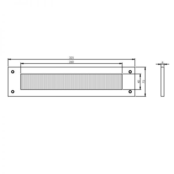 Tochtwering rechthoek chroom mat