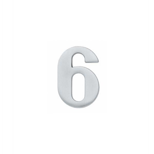 Huisnummer 6 chroom mat