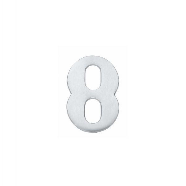 Huisnummer 8 chroom mat