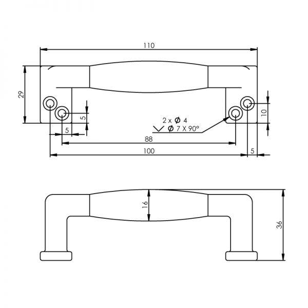 Meubelgreep recht ebbenhout 108 mm chroom mat