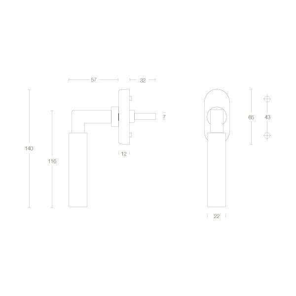Raamkruk Bau-stil chroom mat/mat zwart