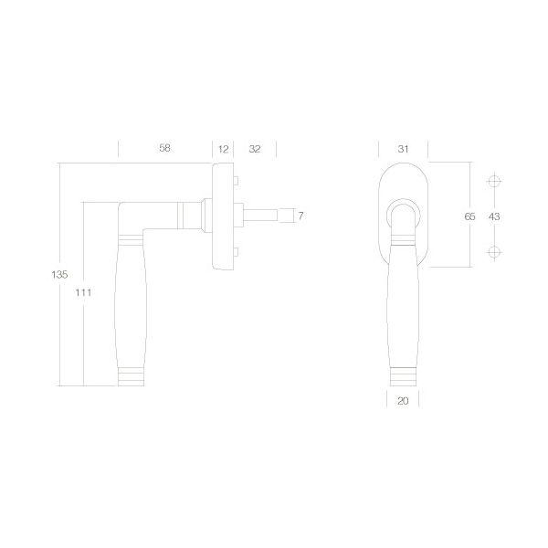 Raamkruk Ton 222 chroom mat/ebbenhout