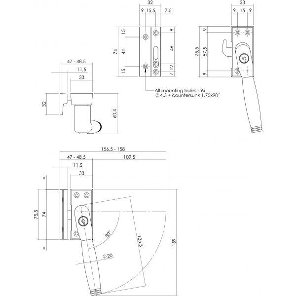 Raamsluiting nok rechts Ton 222 afsluitbaar SKG* chroom mat/ebbenhout