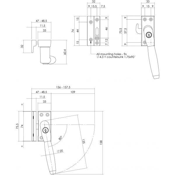 Raamsluiting rechts Ton 400 afsluitbaar SKG* chroom mat/ebbenhout