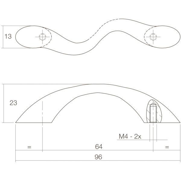 Meubelgreep S-vormig 95 mm chroom mat