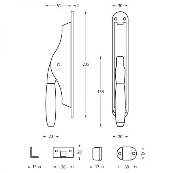 Deurespagnolet Ton 400 nikkel/ebbenhout
