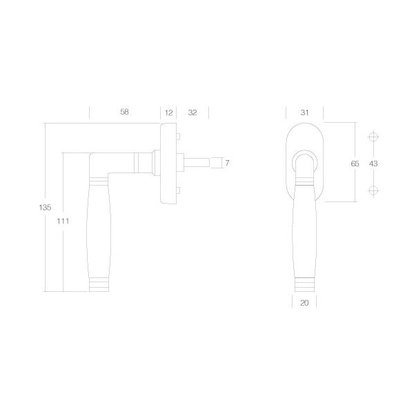 Raamkruk Ton 222 nikkel/ebbenhout