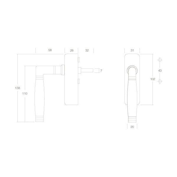 Raamkruk Ton 222 afsluitbaar nikkel/ebben hout