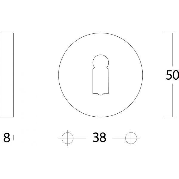 Rozet sleutelgat rond verdekt nikkel mat
