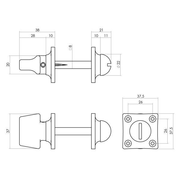 Rozet toilet-/badkamersluiting vierkant basic nikkel mat