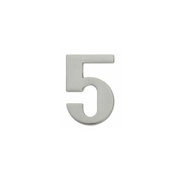 Huisnummer 5 nikkel mat