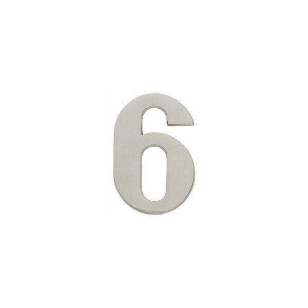 Huisnummer 6 nikkel mat