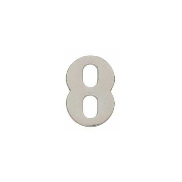 Huisnummer 8 nikkel mat