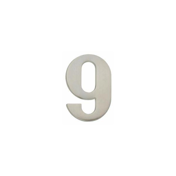 Huisnummer 9 nikkel mat