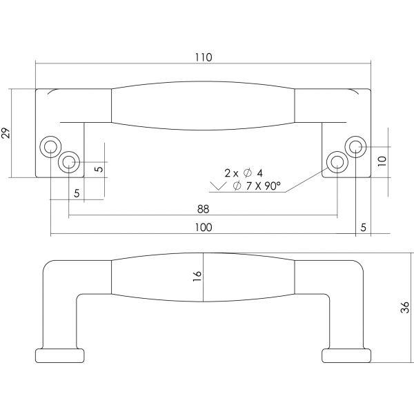 Meubelgreep 108 mm nikkel mat zwart hout