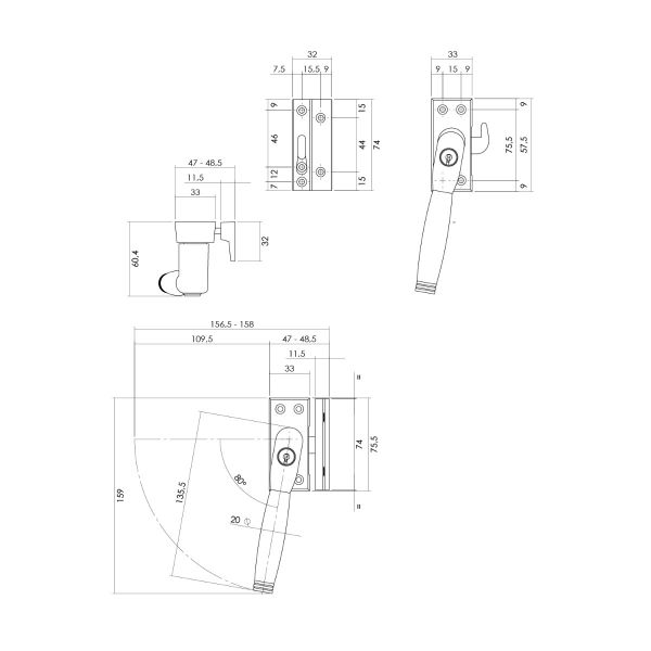 Raamsluiting Ton 222 afsluitbaar links nikkel mat/ebbenhout