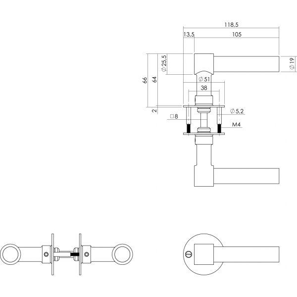 Deurkruk L/L-model met rozet 2 mm rvs/zwart