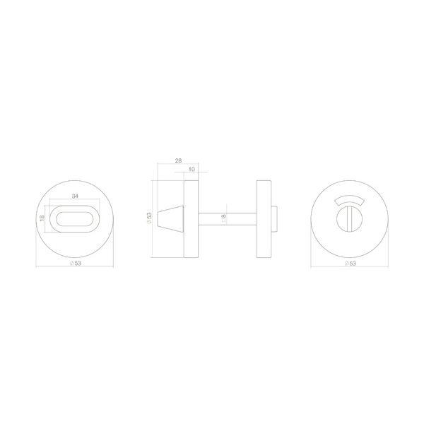 Rozet toilet-/badkamersluiting rond verdekt metaal rvs mat zwart