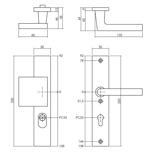 Veiligheidsbeslag met kerntrekbeveiliging SKG3 profielcilinder 55 mm rechthoekig voordeurbeslag zwart
