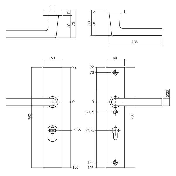 Veiligheidsbeslag met kerntrekbeveiliging SKG3 profielcilinder 72 mm rechthoekig achterdeurbeslag zwart