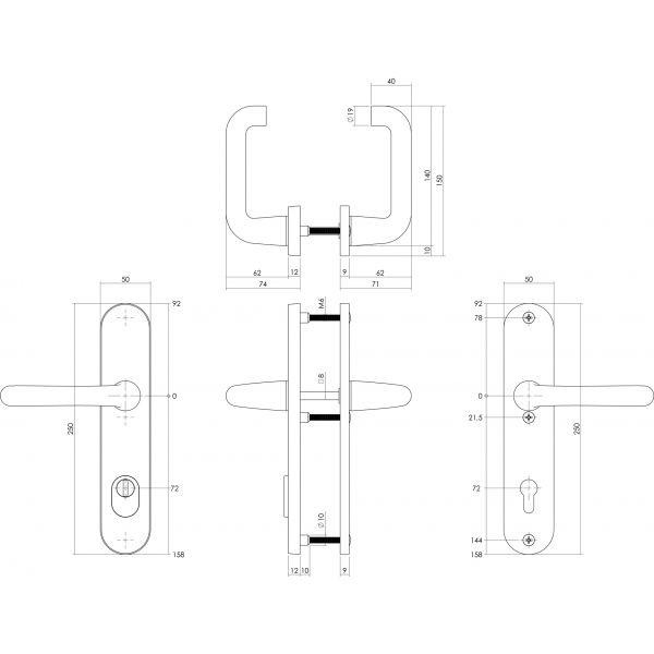 Veiligheidsbeslag SKG3 kruk/kruk profielcilinder 72 mm met kerntrekbeveiliging aluminium zwart