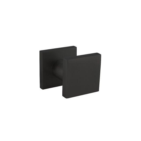 Voordeurknop vierkant 60x60mm éénzijdige montage aluminium zwart