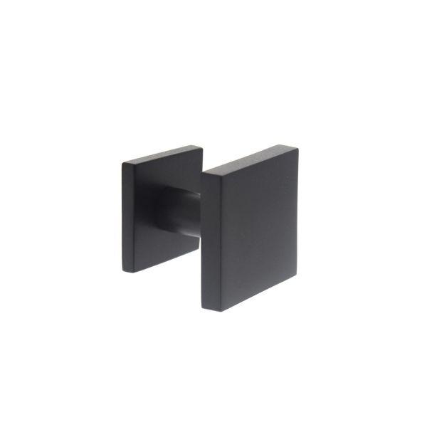 Voordeurknop vast vierkant mat zwart